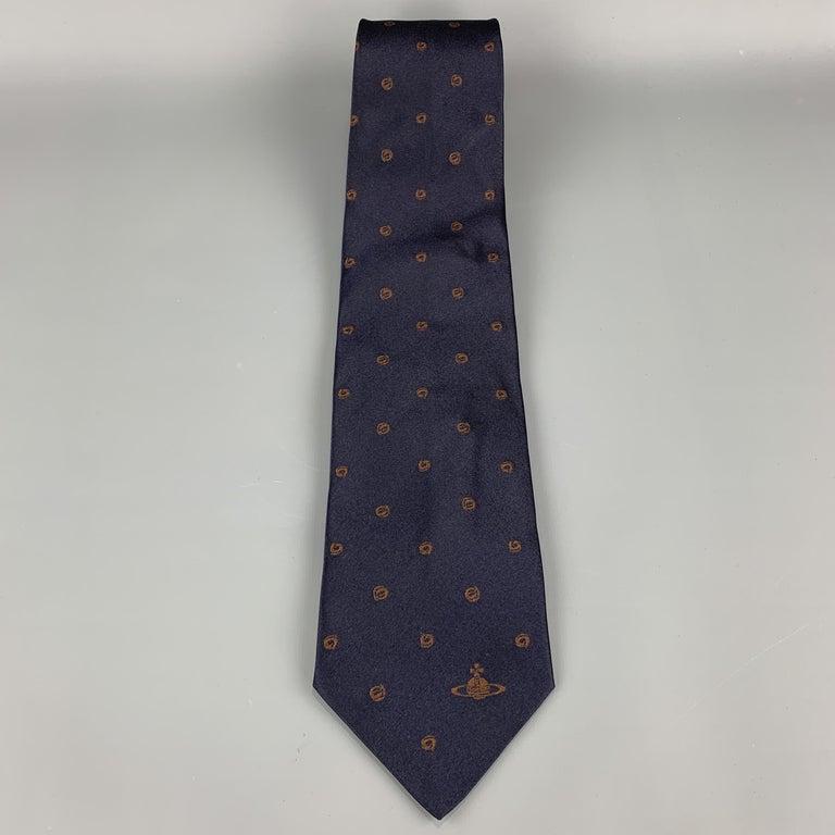 Black VIVIENNE WESTWOOD Navy & Brown Absract Dot Silk Orb Tie For Sale
