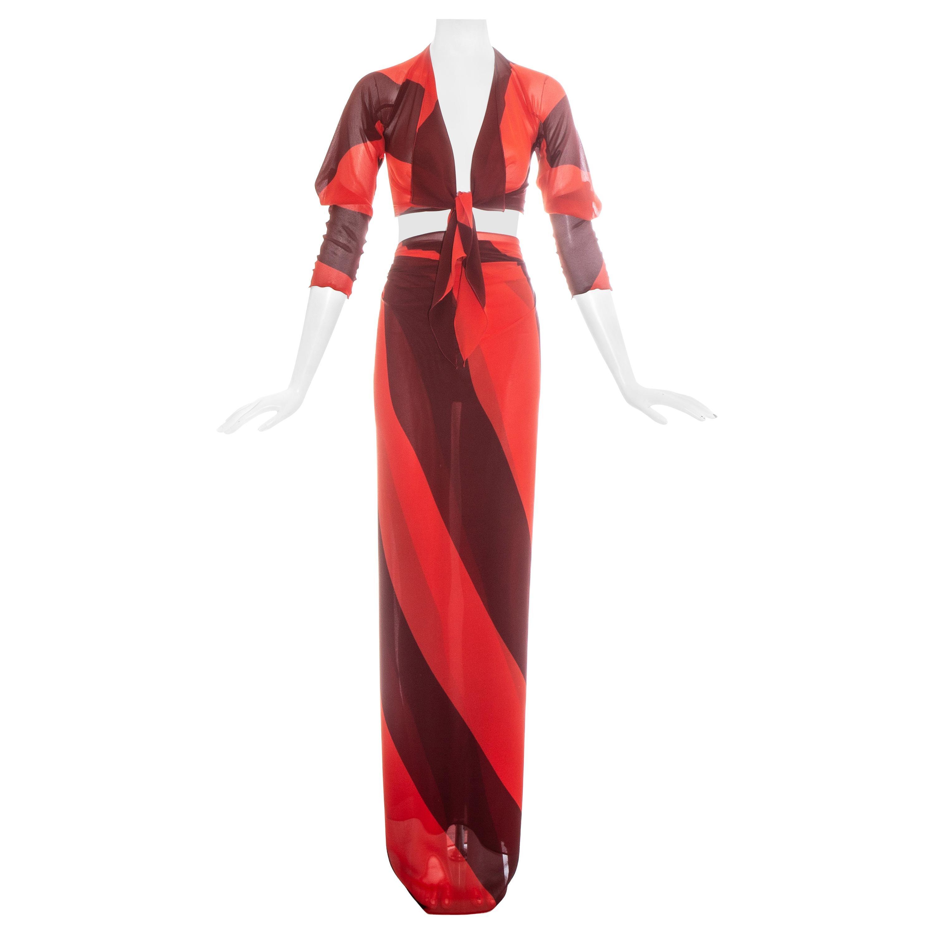 Vivienne Westwood orange silk chiffon blouse and wrap skirt ensemble, ss 1998