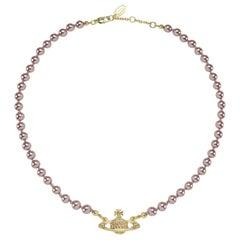 Vivienne Westwood Pearl Rose/Gold Orb Choker