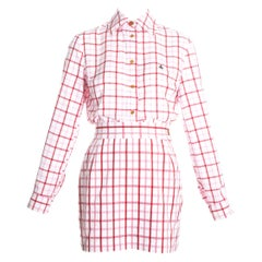 Vivienne Westwood pink and red checked cotton skirt suit, ss 1994