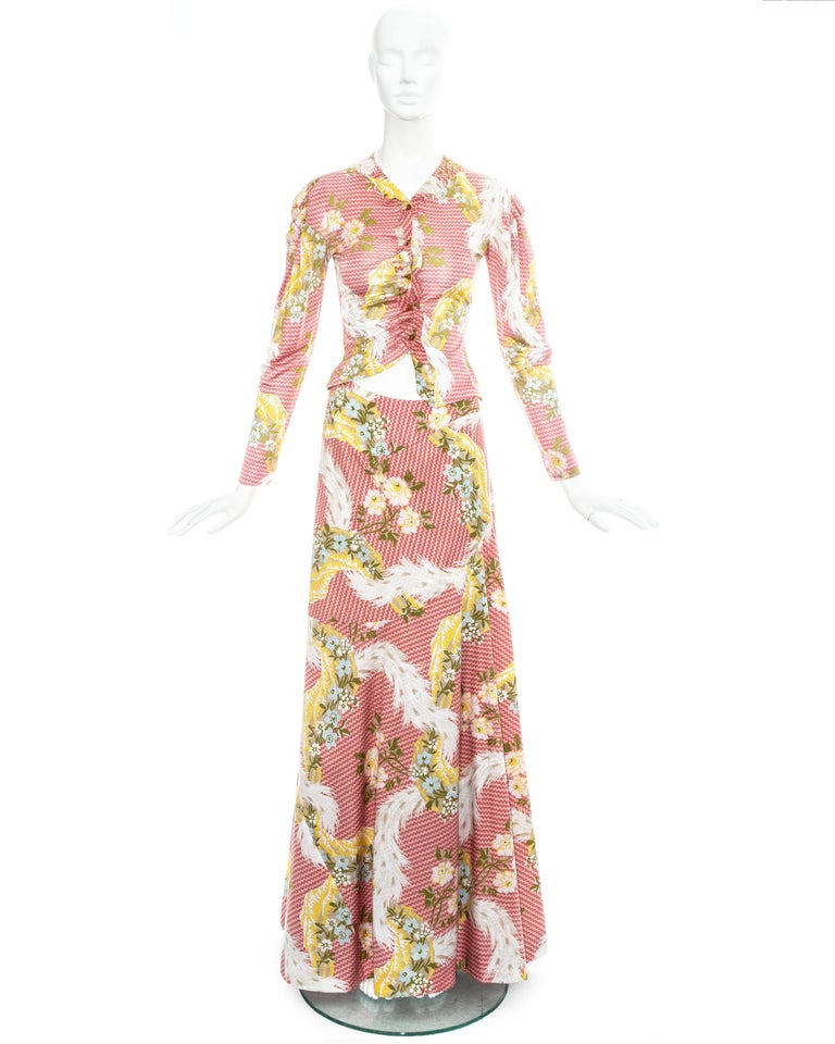 Vivienne Westwood pink floral printed ensemble. Maxi skirt and draped blouse with asymmetric cut.  Spring-Summer 2001