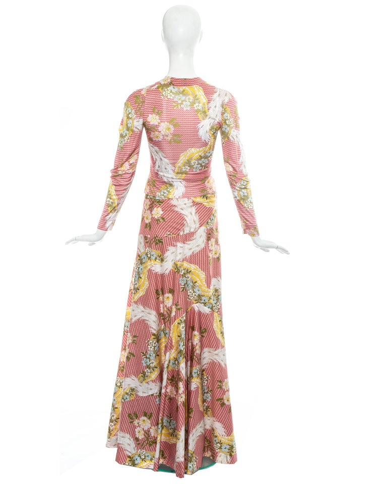 Women's Vivienne Westwood pink floral printed maxi skirt and blouse ensemble, ss 2001 For Sale
