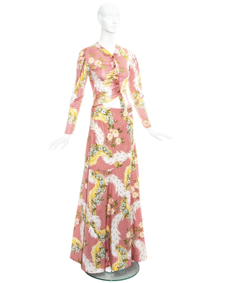Vivienne Westwood pink floral printed maxi skirt and blouse ensemble, ss 2001 For Sale 1