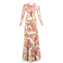 Vivienne Westwood pink floral printed maxi skirt and blouse ensemble, ss 2001