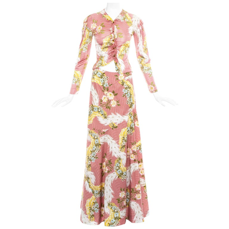 Vivienne Westwood pink floral printed maxi skirt and blouse ensemble, ss 2001 For Sale