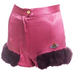 Vivienne Westwood pink satin mini shorts with faux fur, fw 1991
