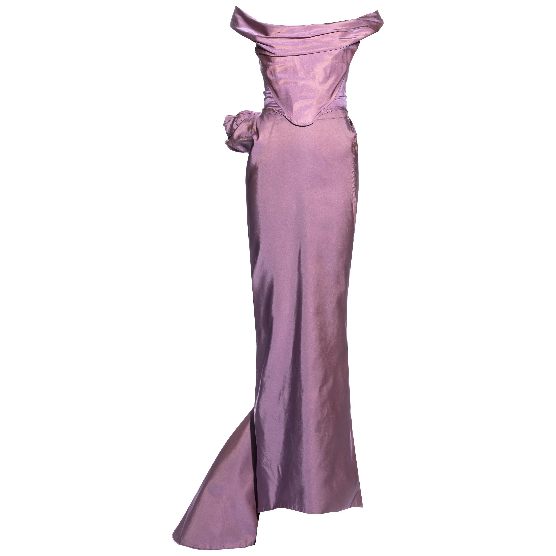 Vivienne Westwood pink silk taffeta corset and bustled maxi skirt, fw 1996