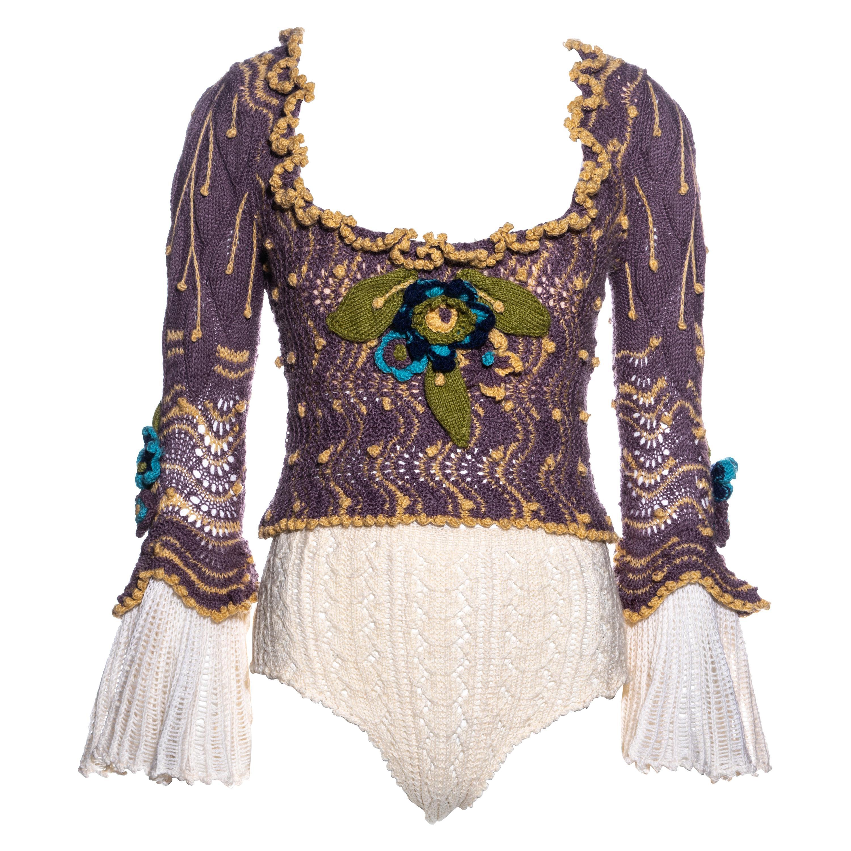 Vivienne Westwood purple crochet knit corset and panties set, fw 1994