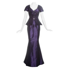 Vivienne Westwood purple silk taffeta mermaid skirt and corset top, c. 1997