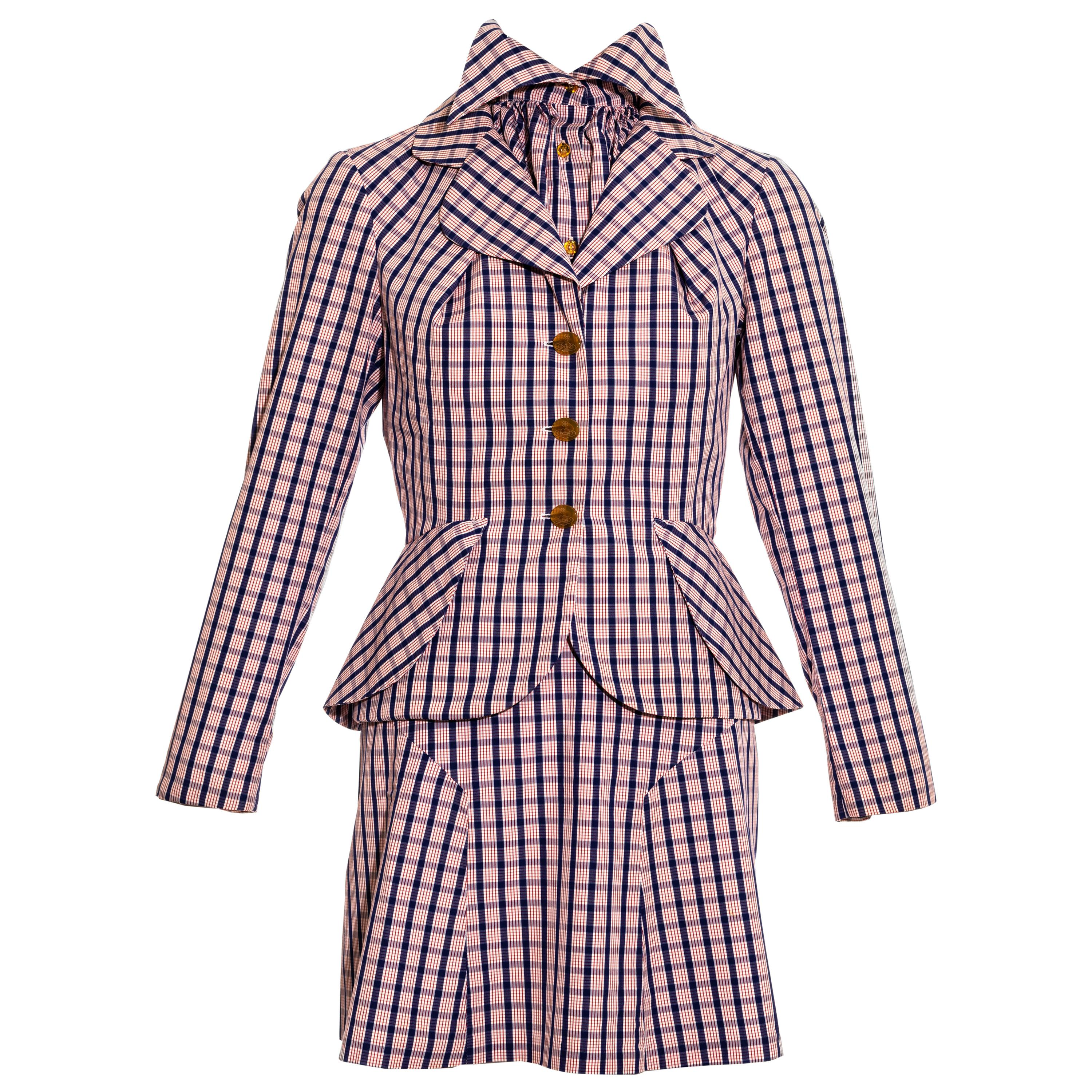 Vivienne Westwood red and blue checked cotton three piece skirt suit, ss 1994