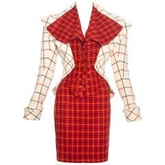 Vivienne Westwood red and cream Harris Tweed corseted skirt suit, fw 1995