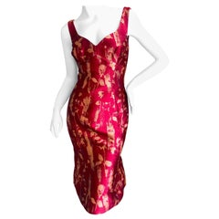 Vivienne Westwood Red and Gold Tulip Print Brocade Cocktail Dress