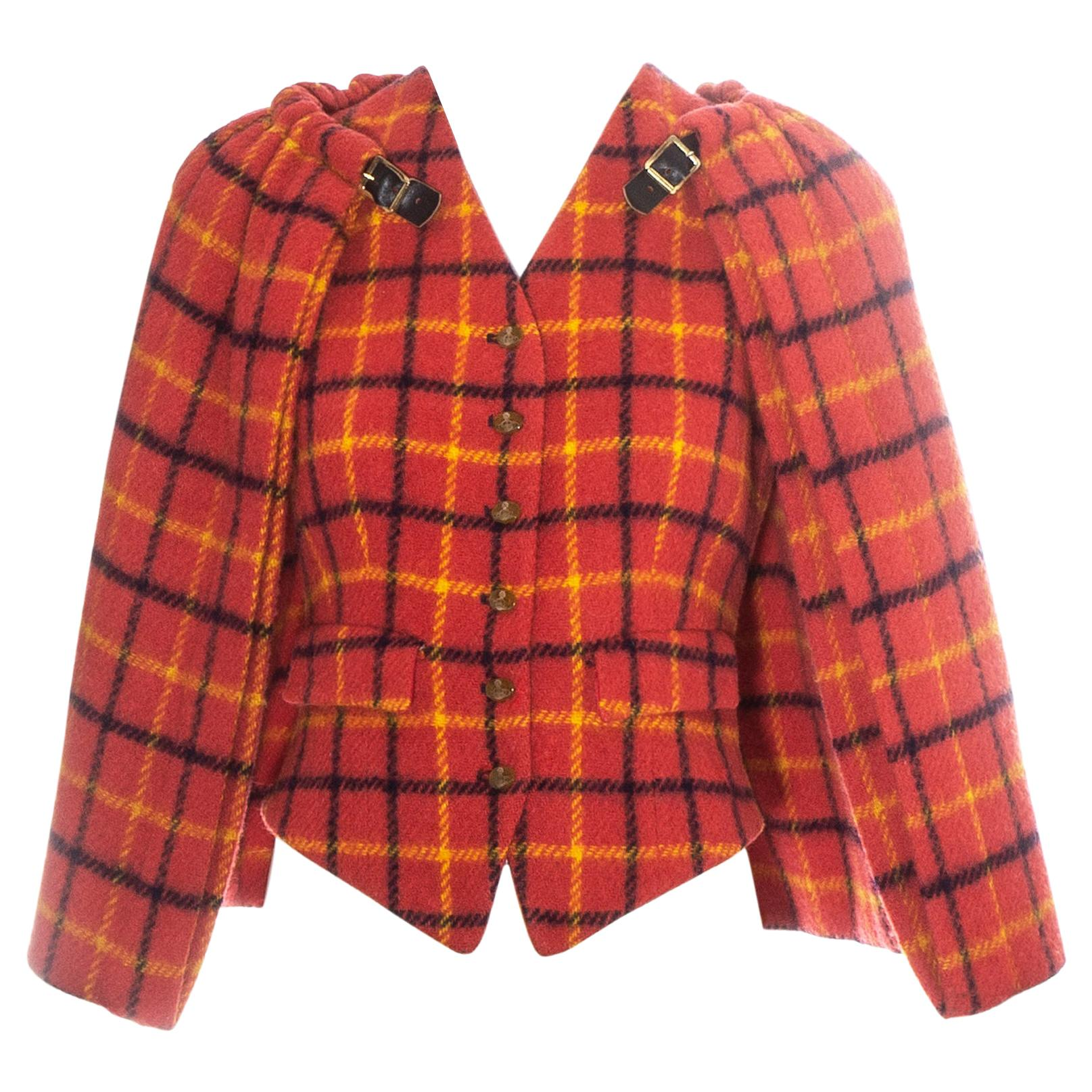 Vivienne Westwood red checked wool waistcoat with caplet, fw 1988