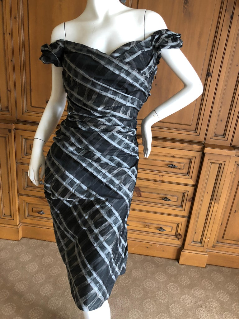 Vivienne Westwood Red Label Taffeta Off the Shoulder Dress w Inner Corset   So much prettier in person, silvery gray and black pattern Unworn Size 44 UK Bust 36