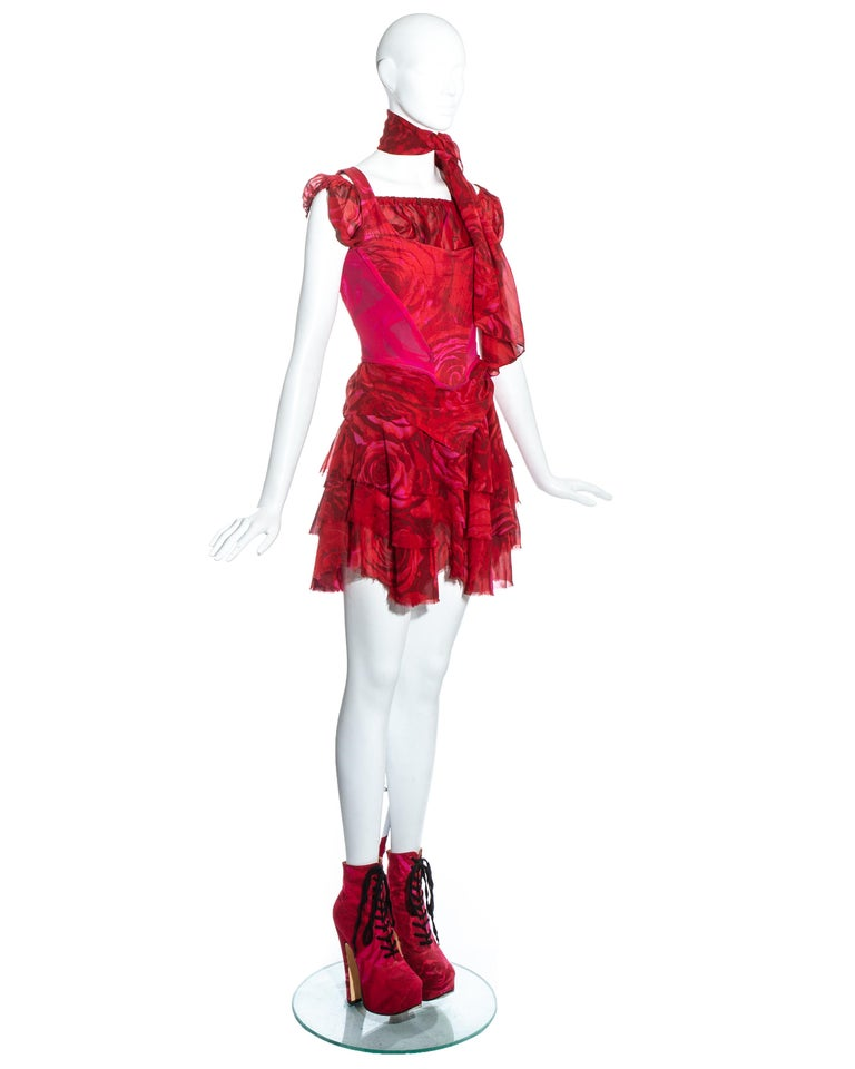 Red Vivienne Westwood red rose print corset and platforms ensemble, ss 1993 For Sale