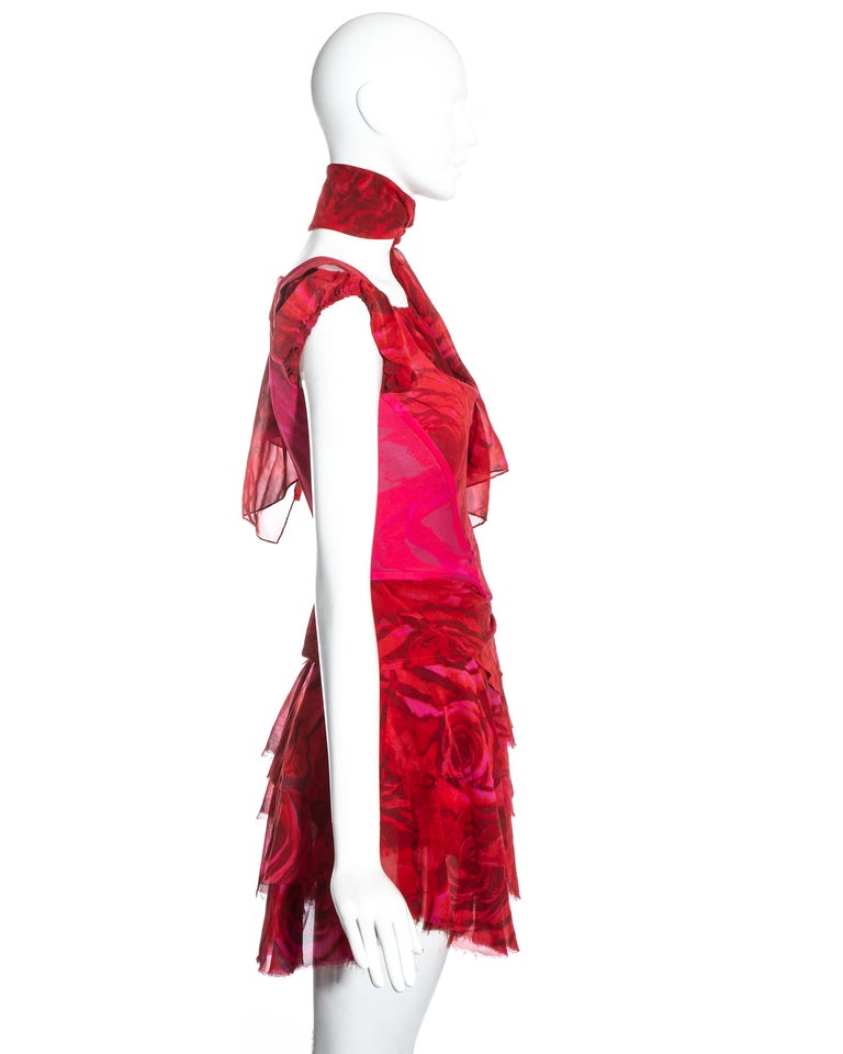 Vivienne Westwood red rose print corset and platforms ensemble, ss 1993 In Good Condition For Sale In London, GB