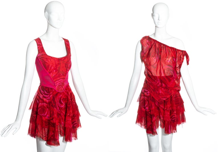 Vivienne Westwood red rose print corset and platforms ensemble, ss 1993 For Sale 1