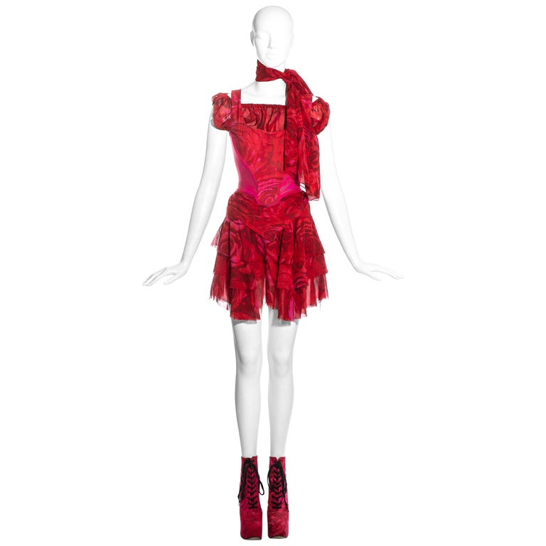 Vivienne Westwood red rose print corset and platforms ensemble, ss 1993 For Sale