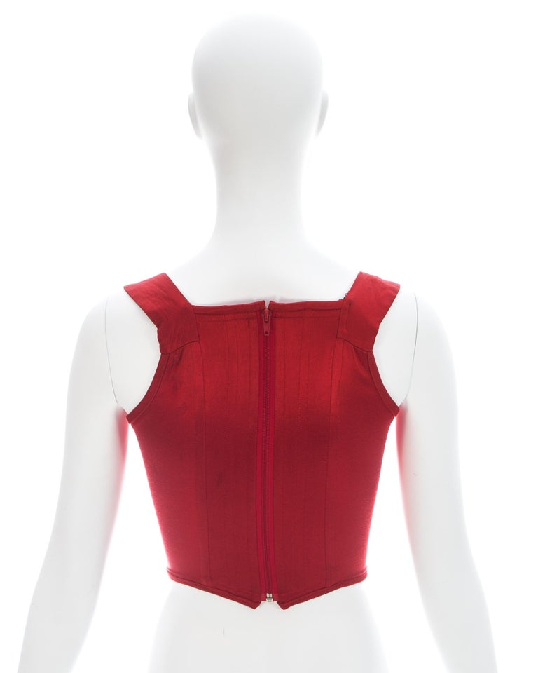 Vivienne Westwood red satin boned corset, ca. 1991 For Sale 1