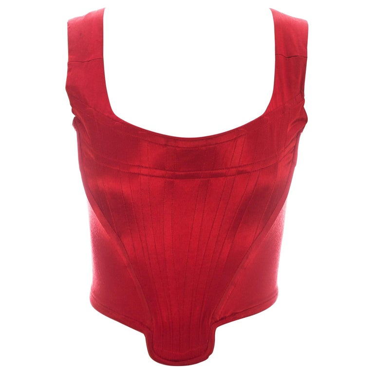 Vivienne Westwood red satin boned corset, ca. 1991 For Sale