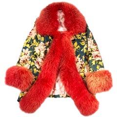 Vivienne Westwood red sheepskin and floral velvet jacket, fw 1994