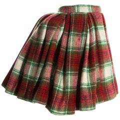 Vivienne Westwood red tartan wool pleated skirt with bustle, fw 1988