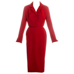 Vivienne Westwood red wool cropped jacket and pencil skirt suit, fw 1993