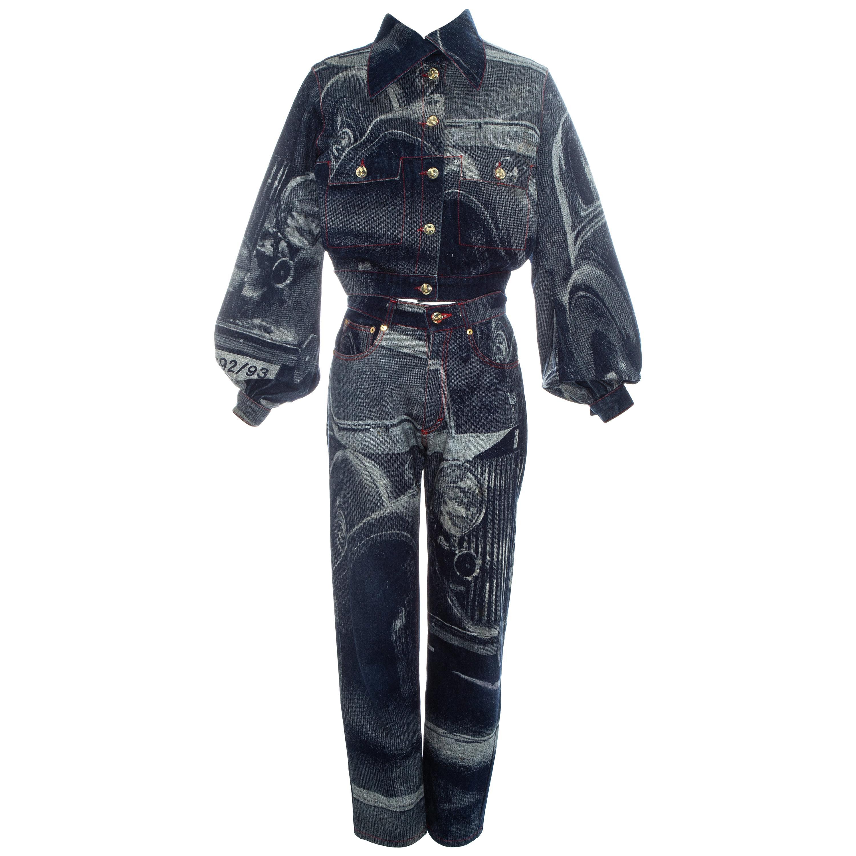 Vivienne Westwood Rolls Royce screen printed denim jeans and jacket, fw 1992