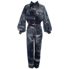 Vivienne Westwood Rolls Royce screen printed denim jeans and jacket, fw 1992