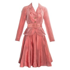 Vivienne Westwood salmon pink silk peplum blazer jacket and skirt suit, ss 1994
