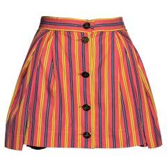 Vivienne Westwood salmon pink striped cotton pleated mini skirt, ss 1993
