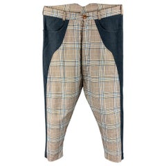 VIVIENNE WESTWOOD Size 30 Blue & Gray Plaid Cotton Blend Drop-Crotch Pants