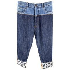 VIVIENNE WESTWOOD Size 30 Indigo Color Block Denim Button Fly Jeans