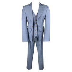 VIVIENNE WESTWOOD Size 38 Light Blue Wool Peak Lapel Suit
