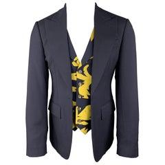 VIVIENNE WESTWOOD Size 38 Navy Wool Peak Lapel Yellow Vest Sport Coat