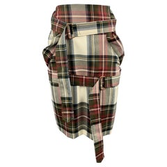 VIVIENNE WESTWOOD Size 4 Cream Plaid Virgin Wool Bondage Strap Pencil Skirt