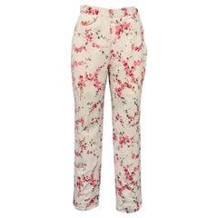 VIVIENNE WESTWOOD Size 8 White & Pink Floral Cotton Casual Pants