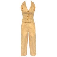 VIVIENNE WESTWOOD Spring 1995 Yellow Red Linen / Cotton Size Vest Pant Suit Set