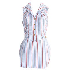 Vivienne Westwood Striped cotton mini skirt suit 'Café Society', ss 1994