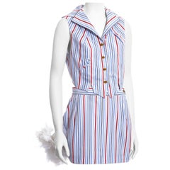 Vivienne Westwood striped cotton waistcoat and feathered mini skirt set, ss 1994