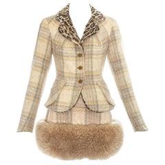 Vivienne Westwood tartan wool and shearling mini skirt suit, fw 1994