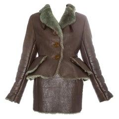 Vivienne Westwood taupe sheepskin mini skirt suit, fw 1994
