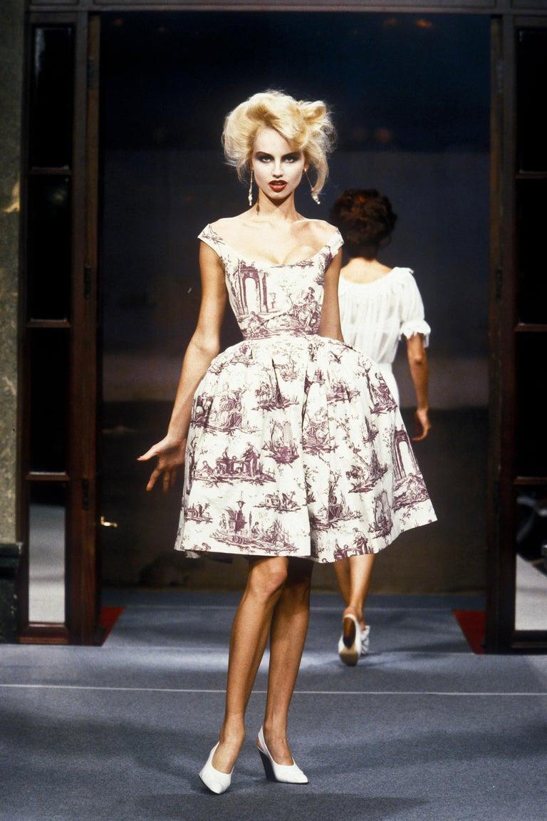 Purple Vivienne Westwood Toile de Jouy printed cotton dress with pannier, ss 1996 For Sale