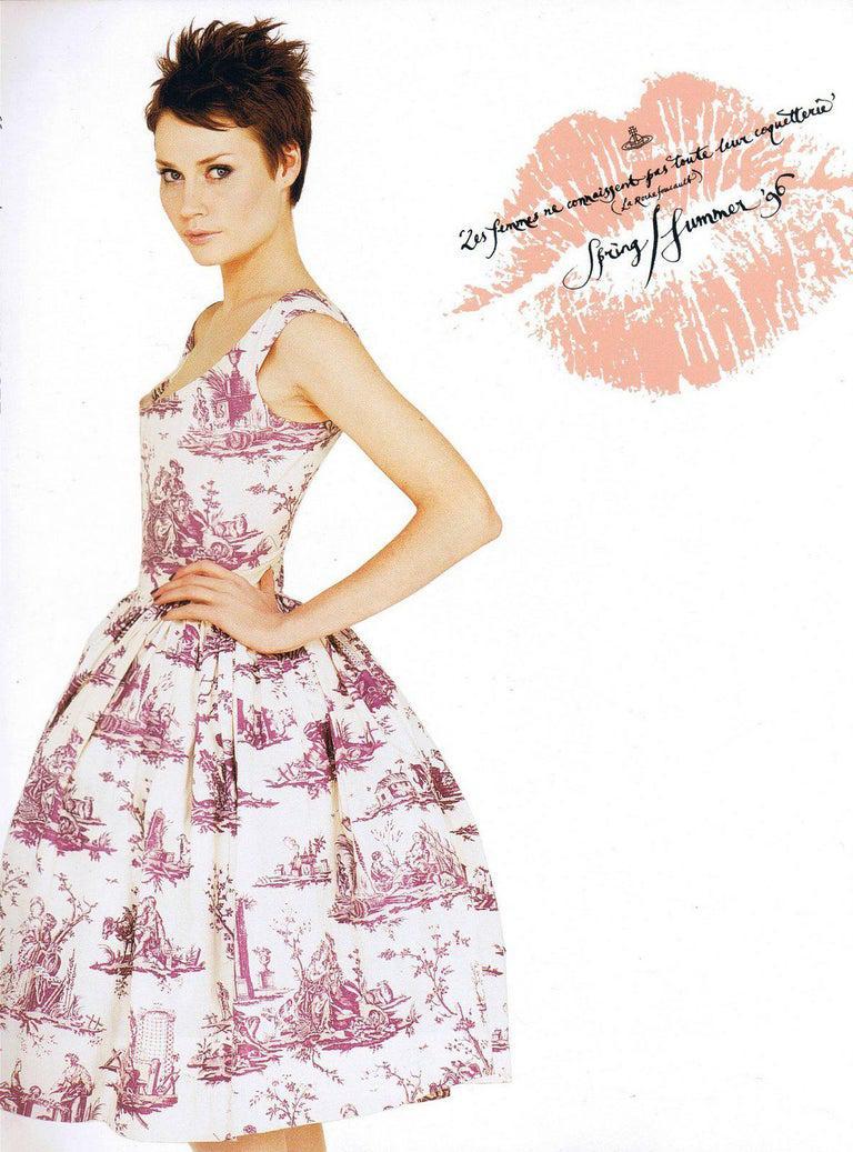 Women's Vivienne Westwood Toile de Jouy printed cotton dress with pannier, ss 1996 For Sale