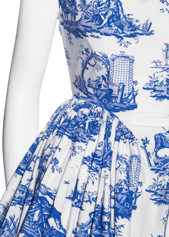 Vivienne Westwood Toile de Jouy printed cotton dress with pannier, ss 1996 For Sale 1