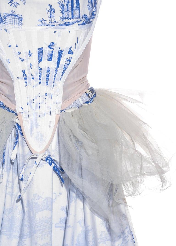 Vivienne Westwood Toile de Jouy printed cotton dress with pannier, ss 1996 For Sale 2