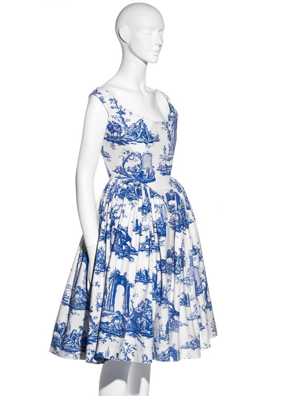 Vivienne Westwood Toile de Jouy printed cotton dress with pannier, ss 1996 For Sale 3