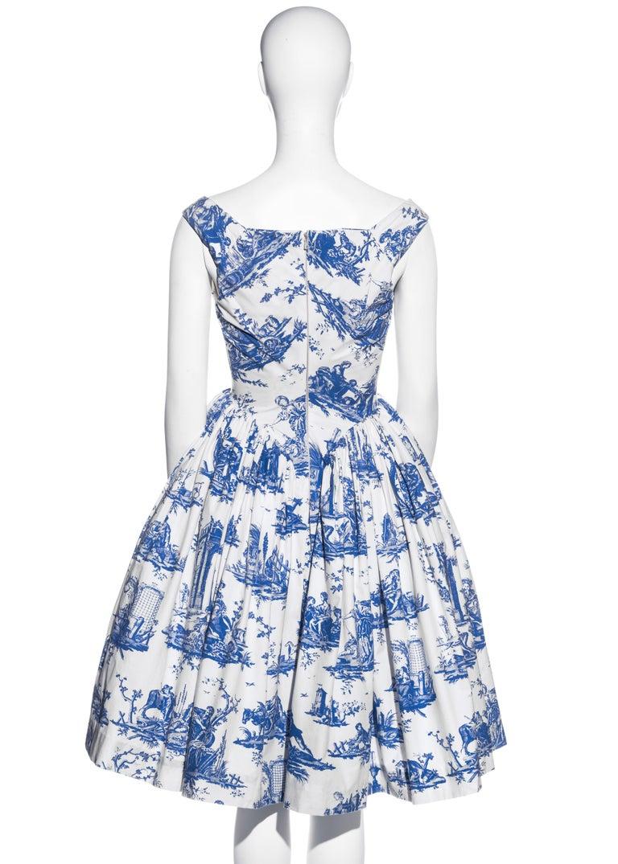 Vivienne Westwood Toile de Jouy printed cotton dress with pannier, ss 1996 For Sale 4