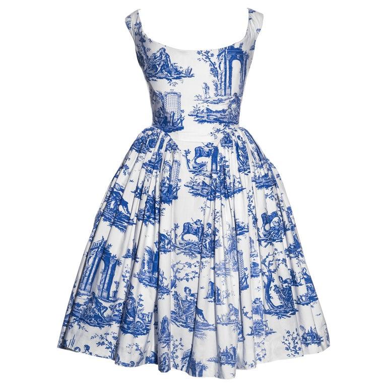 Vivienne Westwood Toile de Jouy printed cotton dress with pannier, ss 1996 For Sale
