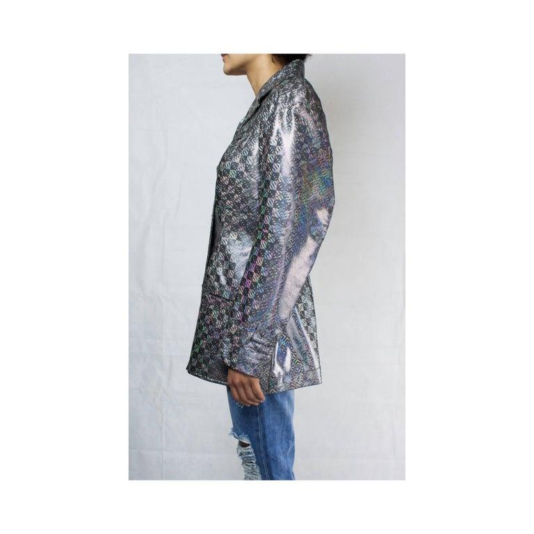 Gray Vivienne Westwood unique couture   metallic  padded saharien jacket, circa 1990s For Sale